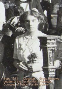 Sept. 1913 - Close up - Grace Burrows - Leader of the De Montfort Orchestra - Courtesy of Tebbs' Family Archive