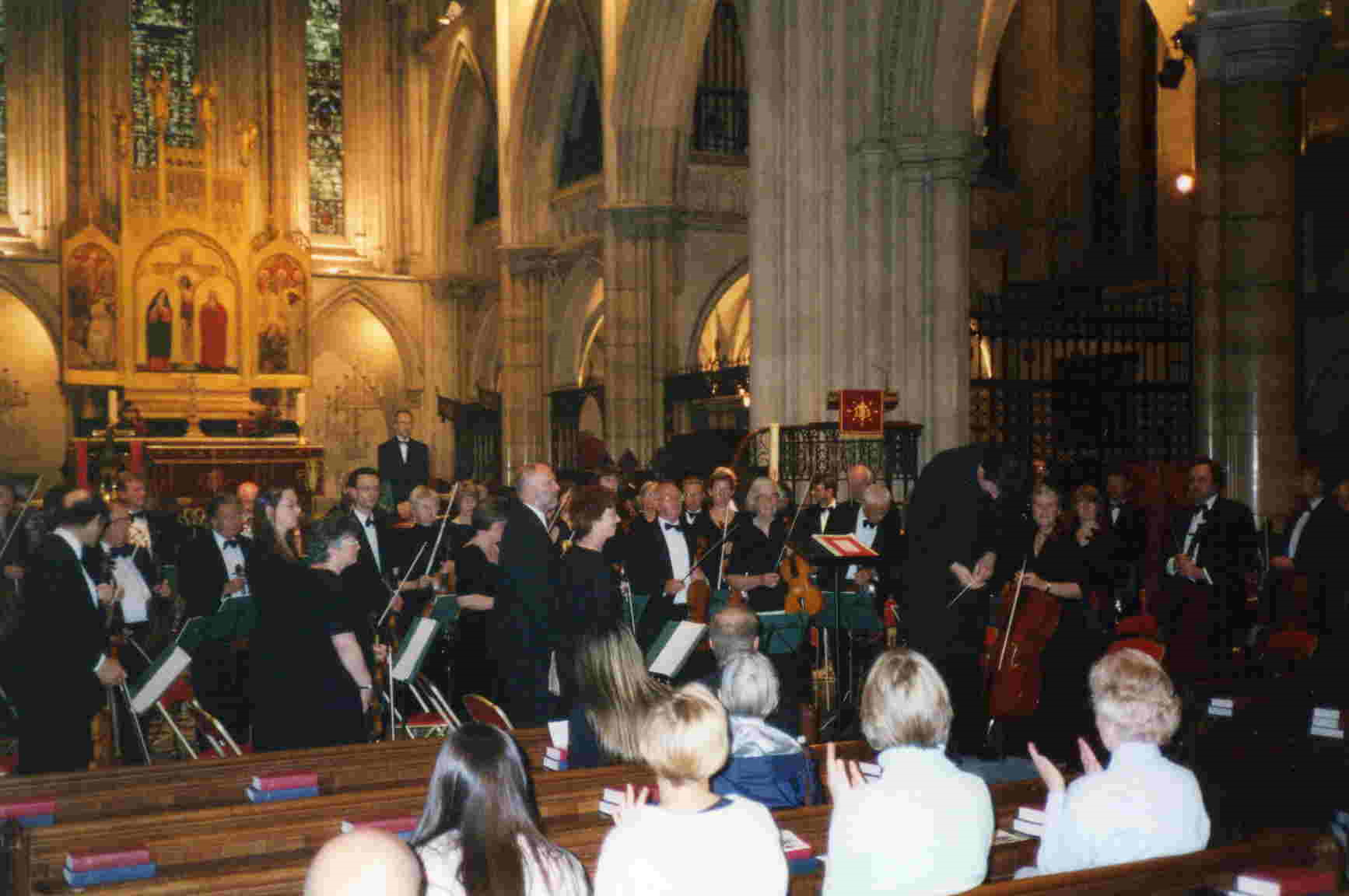 The orchestra performing in the American Cathedral
