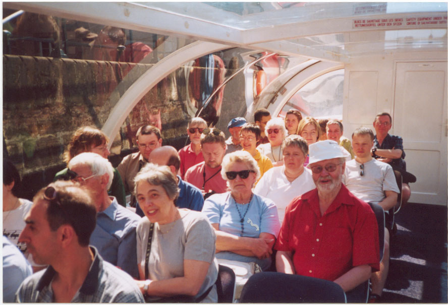 Some members of the orchestra enjoying the boat trip