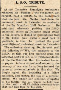 Leicester Mercury report of LSO tribute