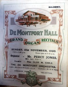 Cover of programme featuring De Montfort Orchestra from November 1920