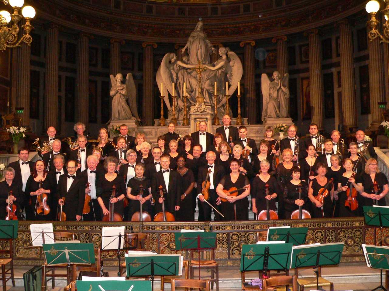 The orchestra in the Eglise de la Madeleine, Paris
