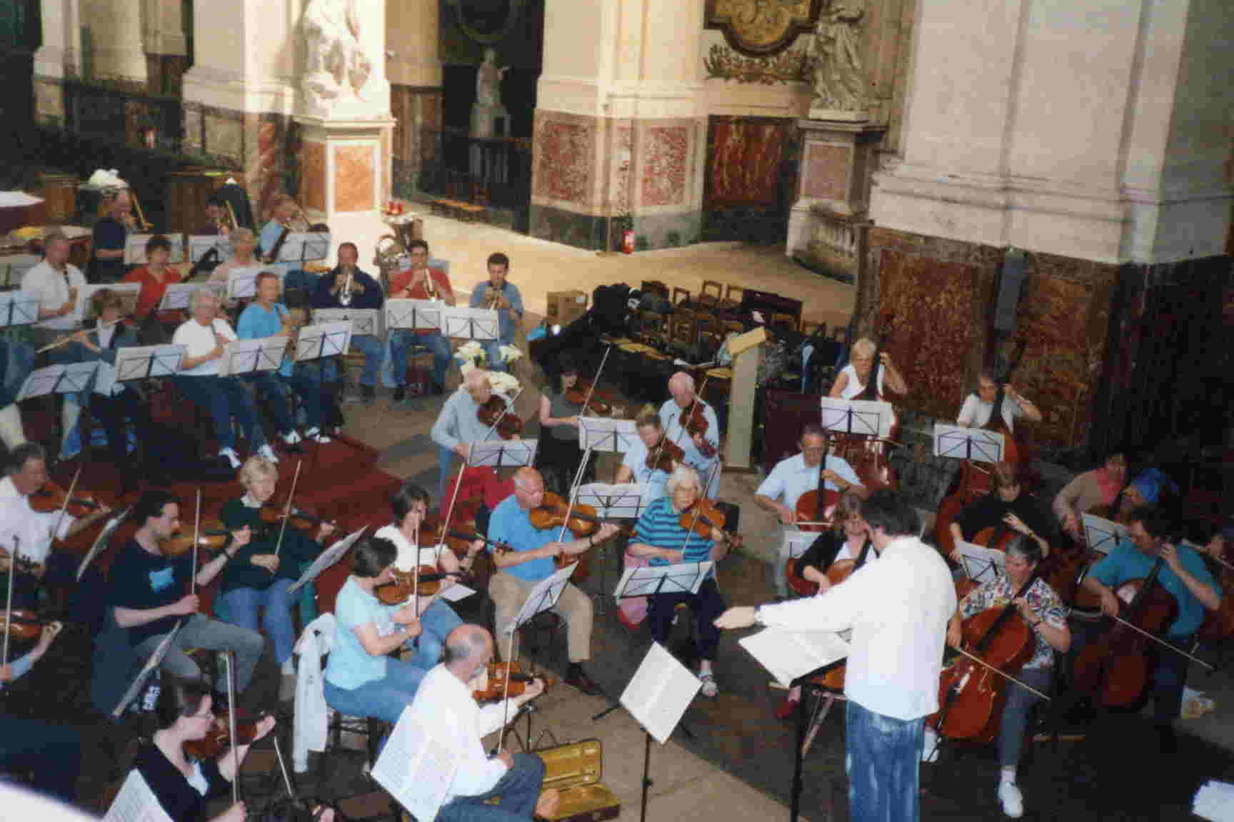 The orchestra rehearsing in St Roch